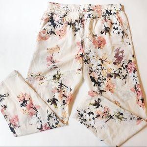 Ann Taylor Loft Cream Floral Print Pant Sz. L